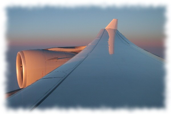 Wing of an Airbus in flight.