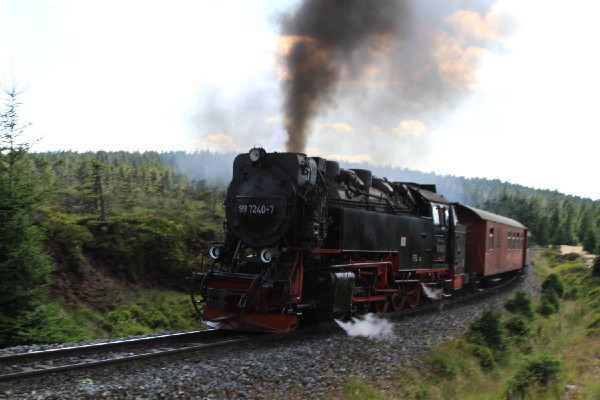 Steam train up mount Brocken, Germany.